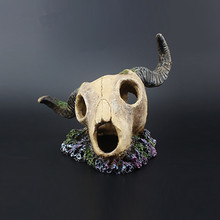 Newest Aquarium landscape Fish Tank Decoration Ornament Resin Emulational Skelecton Sheep Head Bone Skull Craft(China)