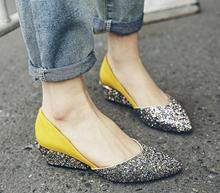 2017 Women's Wedges Shoes Fashion Lady Tennis Pointed sequins Woman Casual Shoes  Platform sepatu moccasins zapatos mujer