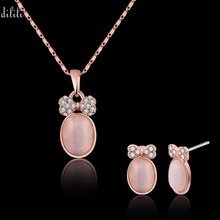 DLILI 2017 Rose Gold Color Wedding Jewelry Set Bridal Pink Opal Stone Crystal Pendant Necklace And Stud Earrings Set For Women(China)