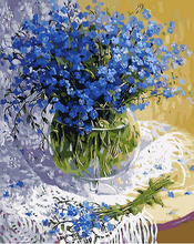 Frameless blue flower canvas painting by numbers diy painting diy picture oil painting on canvas for home decor A living room