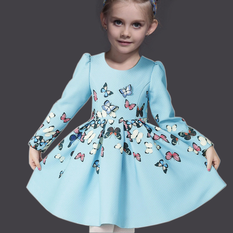 High Quality 2015 Fall&amp;Winter Girl Dress New Brand Princess Baby Girls Clothes Blue 3D Butterfly Print Girls Dresses+Headwear<br><br>Aliexpress