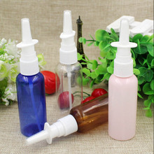 50Pcs/Lot 50ml pink blue Transparent Brown Empty Plastic Nasal Spray Bottle pet Pump Sprayer Mist Nose Spray Refillable Bottles(China)