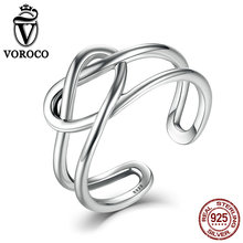 VOROCO Authentic Sterling Silver 925 Heart Knot Winding Twisting Band Cuff Adjustable Ring Woman&Lady Fine Jewelry VSR034(China)