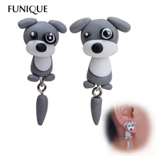 FUNIQUE Handmade Cute Lovely Schnauzer Dog Earrings With tail polymer Clay Stud Earrings Women ear Jewelry Animal Earrings(China)