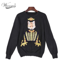 Autumn Winter Women Fashion Pullover Crown Fox Embroidery Sweater Vintage V-neck Knitted Top blusas WS-258(China)
