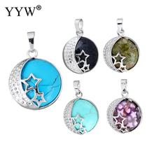 2017 New Designs Silver Plated Star Moon Charm Pendants Jewelry Natural Real Gem Stone  Quartz Opal  Pendant Women DIY