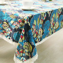1Pcs Boho Blue Flower Cotton linen tablecloth Lace Edged Wedding Party Table cloth Cover Home decor decoration Tablecloths 44092