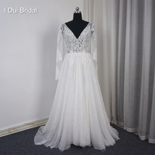 Buy Long Sleeve V Neck Wedding Dress Line Lace Appliqued Beaded Bare Back Illusion Corset Bridal Gown for $198.00 in AliExpress store