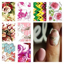 WUF 1 Sheet Optional Full Cover Flower Designs Nail Stickers Water Transfer Decals For Nails Salon