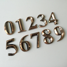 1PC 0-9 Bronze Color House Numbers 5*3*0.8CM Hotel Home Door ABS Plating Number Digits Sticker Plate Signs Address Plaque 2015(China)