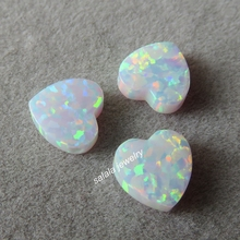 50pcs/lot 8mm Double Flat Heart Opal OP17 Snow Heart Opal Drilled Synthetic Cabochon Heart Opal for Opal Necklace & Bracelet