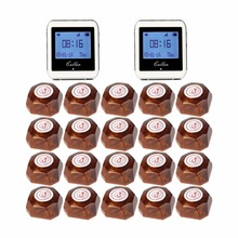 Wireless Restaurant Pager Coaster Paging System 2 Watch Receiver+20 Call Button Pager Guest Watches Waiter Caller F3288B(China)