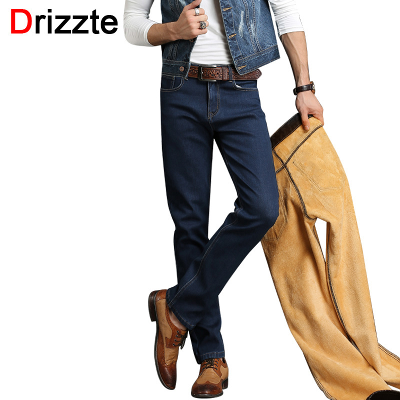 Drizzte Brand Winter Thermal Fleece Stretch Denim Quality Flannel Lined Jeans Jean Trousers Pants Size 30 32 34 36 38 40 42Одежда и ак�е��уары<br><br><br>Aliexpress