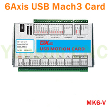 MK6-V Mach3 6Axis Motion control card USB Port 2000Khz pluse 16input8output IO for 3/4/5/6 axis CNC Router/Robot/Milling Machine