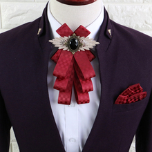 Free Shipping New Male casual men's fashion England Multi-storey collar dress business wedding groom bow tie Pocket towel set(China)