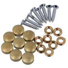 BQLZR 8pcs 16mm Dia Furniture Table Copper Round Decorative Mirror Cap Nails w/ Screw(China)