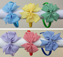 60pcs girl gingham hair bows solid Hair Bands Covered ribbon fully lined wrapped Plastic school plaid hard Headbands FJ3135(China)