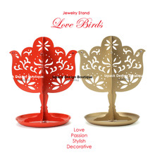 Love Bird Jewelry Tree Stand with Tray Earring Bracelet Necklace Holder Organizer