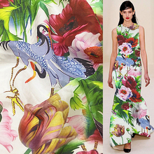 Crane and peony print China style silk blending cotton fabric thin 9momme 135cm width,SCT237(China)