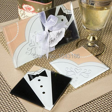 Free shipping Wedding favours Hot Sale Bridal glass Coaster set door Gift, event Souvenir, party Favor100pcs/lot(China)