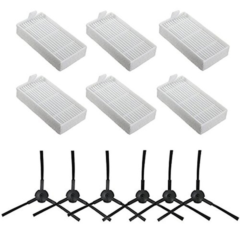Top Sale 6x side brush 6x HEPA Filter kit for CHUWI ilife v5s v5 x5 ilife V3s v3s pro v3l v5s pro v50 robot vacuum cleaner(China)