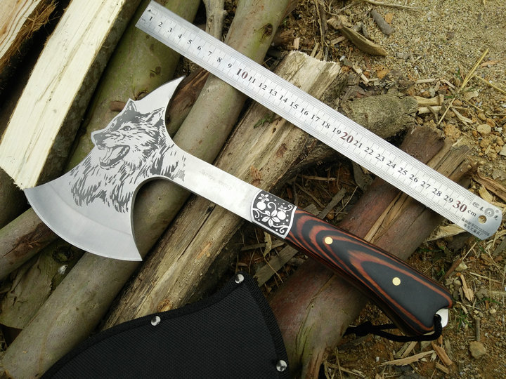 FBIQQ Fire axe stainless steel bag plastic handle sharp axe Outdoor multifunctional save your axes Waist axe<br>
