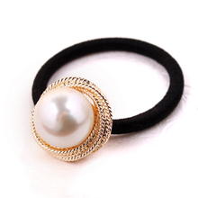 Great Simulated Pearls Golden Decoration Rubber Bands Elastic Hair Bands for Women Headwear Hair Accessories Gum(China)