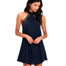 Buy Elegant Ladies Sexy Backless Lace Formal Party Dresses Summer Women Casual Sleeveless Halter Chiffon Mini Beach Party Dress #Zer