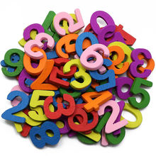 Mixed 100PCs 7 Colors Dyed Figures Kids Numbers 0-9 Wooden Buttons Sewing Handmade Scrapbooking For Baby DIY Crafts(China)