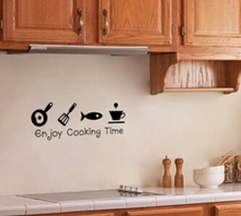 %  kitchen sticker waterproof creative tile wall stickers glass cabinets kitchen decor wall art home decoration cooking time