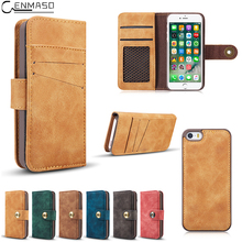 CENMASO Flip Case For Apple IPhone 5 5S IPhone5 Case Luxury PU Leather 2in1 Multi Card slot Wallet Magnet Split Cover Phone Bags(China)