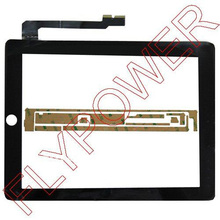 100% Warranty Black touch screen digitizer with free sticker for iPad 3 for ipad 4 by free DHL, UPS or EMS; 20pcs/lot(China)