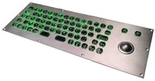 69 keys green colour backlight metal keyboard with trackball, LED backlit/backlighted keyboard with transparent key buttons