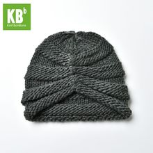 2017 KBB Spring Kawaii Comfy Gray Ridged Pattern Designe Yarn Women Men Knit Delicate Winter Hat Beanie Female Cap(China)