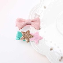 1Set=2pcs Cute Style Hair Accessories New Shiny Star Girl Accessories Girls Flower Bow Hairpins Kids Headderess Hair Clip