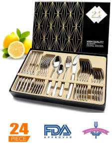 Dinnerware Cutlery-Sets Spoons/Knives Stainless-Steel Gift-Box High-Grade 24pcs Mirror