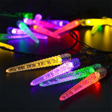 4 pcs/set Solar Powered LED Christmas Outdoor Light String 16ft 20 LED Icicle String Light For Gardens Homes Wedding Waterproof