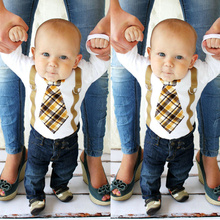 Newborn Infant Toddler Baby Boys Plaid Tie Suspenders  Printed Cotton Romper Jumpsuit Outfits 0-18M