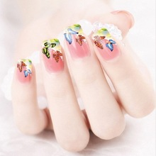 2017 Promotion Rushed Manicure 2 Sheets Watermark Nail Stickers Flowers Row Of Pens Manufacturers Xf1320(China)