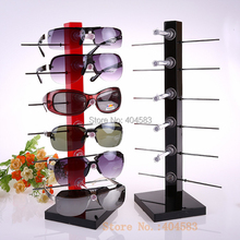 2pcs/lot 6-pair-of-Eyewear Spectacles Sunglasses display stand holder rack detachable reading glasses stand black red yellow