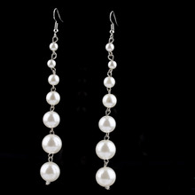 NEW One Pair Long Pearl Earrings Swings Women's Indian Jewelry Bohemian Earrings(China)