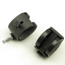 2PCS Black Plastic Casters Office Chair Sofa Wheels Replacement Brake Silent Swivel Rolling Roller Caster Furniture Hardware
