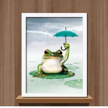 Needlework diy diamond painting cross stitch frog an umbrella home decoration square drill full diamond embroidery Wall Stickers(China)