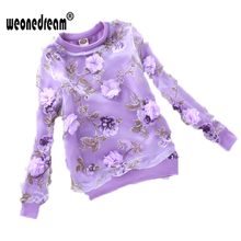 WEONEDREAM Children Spring and Autumn T Shirts Clothing Full Sleeve Organza Girl Blouses Clothes Big Flower Printed Kids Clothes