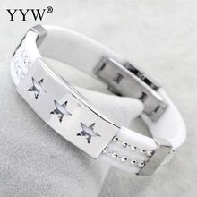 YYW Hot Sale White Silicone Leather Bracelets & Silver Stars Stainless Steel Bracelet Women DIY Birthday Jewelry Free Shipping(China)
