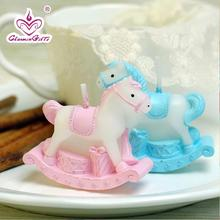 Rocking horse candle baby shower baptism party favor children gift birthday present baby boy girl