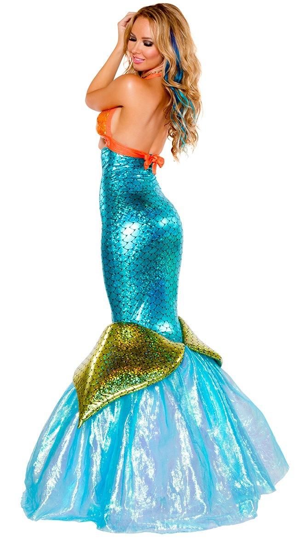 Adult Women Sequin Mermaid Cosplay Ladie Fairytale Sea Siren Costume Fancy Dress
