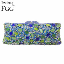 Blue & Green Mixed Opal Cat's Eyes Stone Women Evening Bag Crystal Clutches Metal Bridal Wedding Clutch Purse Handbags and Purse(China)