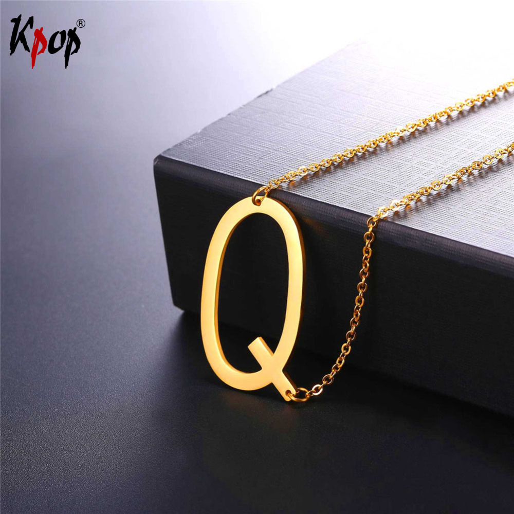Color q online - Kpop Stainless Steel Letter Q Pendant With Chain Choker Gold Black Color For Man