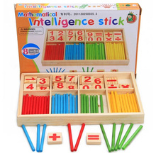 Baby Counting Digital Sticks Early Education Wooden Intelligence Building Blocks Montessori Mathematical Gift Toys For Children(China)